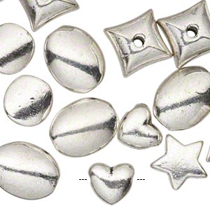 bead, antique silver-plated pewter (zinc-based alloy), 8x9mm-14x11mm assorted shapes. sold per pkg of 25.