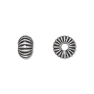 bead, antique silver-plated white brass, 11x7mm corrugated rondelle with 2.5mm hole. sold per pkg of 6.