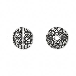 bead, antique silver-plated white brass, 12mm round with dot and circle accents. sold per pkg of 2.