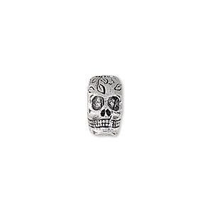 bead, antique silver-plated white brass, 12x7mm two-sided skull with leaves design, 3.5mm hole. sold individually.