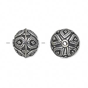 bead, antique silver-plated white brass, 14mm round with dot and teardrop accents. sold per pkg of 2.