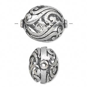 bead, antique silver-plated white brass, 23x19mm fancy puffed oval with open swirls. sold per pkg of 2.