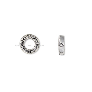 bead, antique silver-plated white brass, 9.5mm double-sided textured round donut with 4.5mm center hole. sold per pkg of 4.
