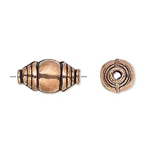 bead, antiqued copper, 17x10mm fancy oval. sold per pkg of 6.