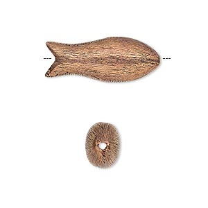 bead, antiqued copper, 24x10mm brushed puffed fish. sold per pkg of 4.