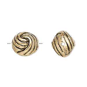 bead, antiqued gold-finished copper-coated plastic, 13.5mm knotted ball. sold per pkg of 50.