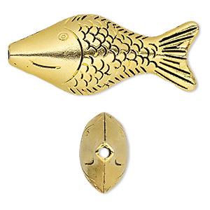 bead, antiqued gold-finished pewter (zinc-based alloy), 52x22mm double-sided fish with 2.5mm hole. sold per pkg of 2.