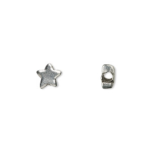bead, antiqued pewter (tin-based alloy), 7x6mm star. sold per pkg of 10.