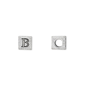 bead, antiqued pewter (tin-based alloy), 7x7mm cube with greek letter, beta, 3mm hole. sold per pkg of 4.