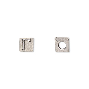 bead, antiqued pewter (tin-based alloy), 7x7mm cube with greek letter, gamma, 3mm hole. sold per pkg of 4.