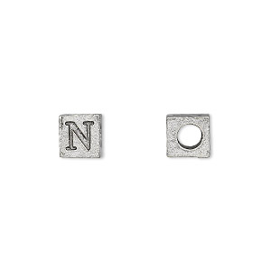 bead, antiqued pewter (tin-based alloy), 7x7mm cube with greek letter, nu, 3mm hole. sold per pkg of 4.