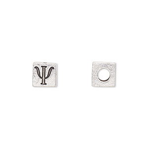 bead, antiqued pewter (tin-based alloy), 7x7mm cube with greek letter, psi, 3mm hole. sold per pkg of 4.