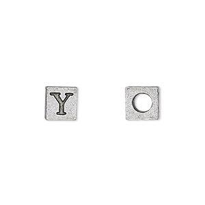 bead, antiqued pewter (tin-based alloy), 7x7mm cube with greek letter, upsilon, 3mm hole. sold per pkg of 4.