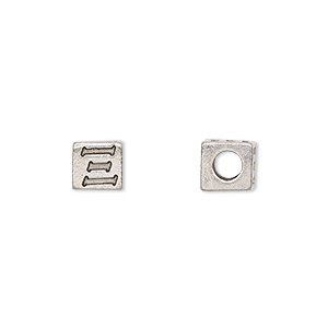 bead, antiqued pewter (tin-based alloy), 7x7mm cube with greek letter, xi, 3mm hole. sold per pkg of 4.