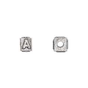 bead, antiqued pewter (tin-based alloy), 8x6mm rectangle with alphabet letter a and 3mm hole. sold per pkg of 4.
