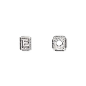 bead, antiqued pewter (tin-based alloy), 8x6mm rectangle with alphabet letter e and 3mm hole. sold per pkg of 4.