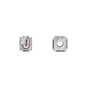 bead, antiqued pewter (tin-based alloy), 8x6mm rectangle with alphabet letter j and 3mm hole. sold per pkg of 4.