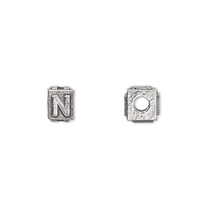bead, antiqued pewter (tin-based alloy), 8x6mm rectangle with alphabet letter n and 3mm hole. sold per pkg of 4.