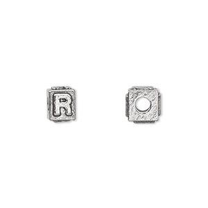 bead, antiqued pewter (tin-based alloy), 8x6mm rectangle with alphabet letter r and 3mm hole. sold per pkg of 4.