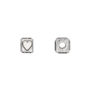 bead, antiqued pewter (tin-based alloy), 8x6mm rectangle with heart, 3mm hole. sold per pkg of 4.