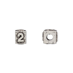 bead, antiqued pewter (tin-based alloy), 8x6mm rectangle with number 2, 3mm hole. sold per pkg of 4.