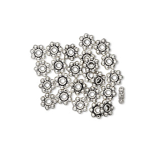 bead, antiqued pewter (zinc-based alloy), 5x2mm beaded rondelle with dots. sold per pkg of 24.