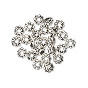 bead, antiqued pewter (zinc-based alloy), 5x4mm beaded rondelle. sold per pkg of 24.