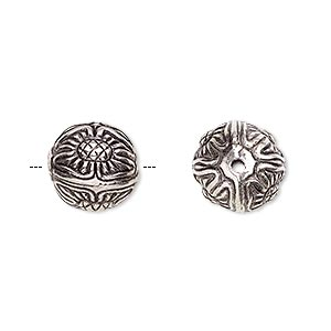 bead, antiqued silver-finished copper-coated plastic, 12mm round with flower design. sold per pkg of 35.