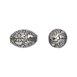 bead, antiqued silver-finished copper-coated plastic, 16x11mm oval with flowers and 2mm hole. sold per 50-gram pkg, approximately 40 beads.