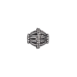 bead, antiqued silver-finished pewter (zinc-based alloy), 12x12mm double cone. sold per pkg of 10.