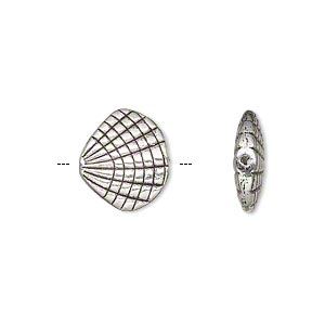 bead, antiqued silver-finished pewter (zinc-based alloy), 14x13mm double-sided shell. sold per pkg of 8.