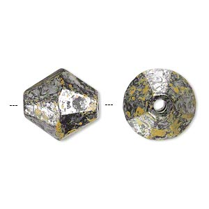 bead, antiqued silver-finished plastic, yellow and black, 16x15mm faceted double cone with 2.5mm hole. sold per pkg of 32.