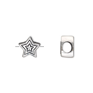 bead, antiqued sterling silver, 10x10mm double-sided star with 4.5-5mm hole. sold individually.