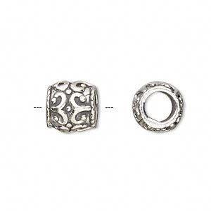 bead, antiqued sterling silver, 10x10mm filigree barrel with 6mm hole. sold individually.