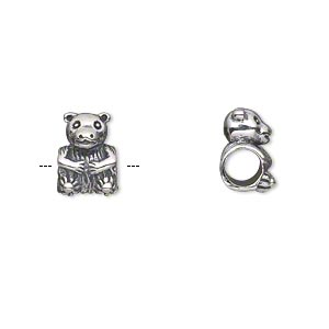 bead, antiqued sterling silver, 11x8mm single-sided bear with 4.5-5mm hole. sold individually.
