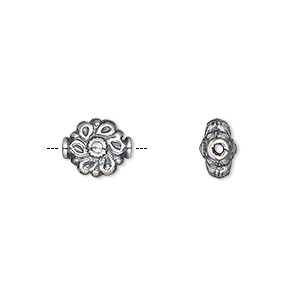 bead, antiqued sterling silver, 11x9mm textured fancy flower. sold per pkg of 2.