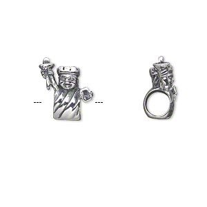 bead, antiqued sterling silver, 13.5x11mm single-sided statue of liberty with 4.5-5mm hole. sold individually.