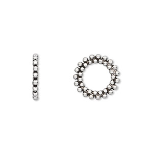 bead, antiqued sterling silver, 13x1.5mm beaded rondelle, 8mm hole. sold per pkg of 2.