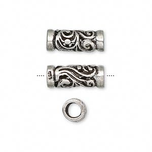 bead, antiqued sterling silver, 15x6mm round filigree tube, 4mm hole. sold per pkg of 2.