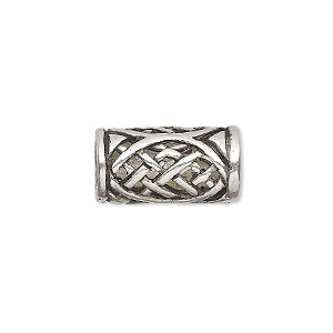 bead, antiqued sterling silver, 18x10mm round tube with cutout celtic knot design, 7mm hole. sold individually.