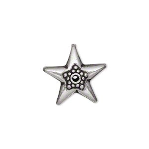 bead, antiqued sterling silver, 18x10mm star with dots. sold individually.