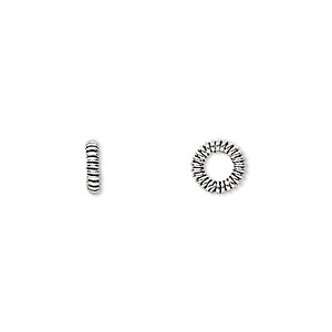 bead, antiqued sterling silver, 7x2mm coiled rondelle with 4mm hole. sold per pkg of 16.