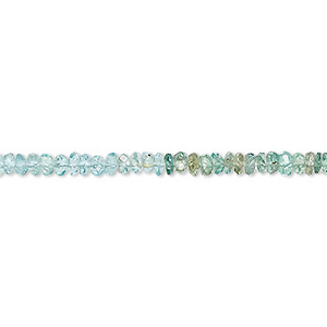bead, apatite (natural), 3x1mm-4x2mm hand-cut faceted rondelle, c+ grade, mohs hardness 5. sold per 13-inch strand.