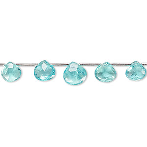 bead, apatite (natural), 5x5mm-8x8mm graduated hand-cut top-drilled faceted puffed teardrop, b grade, mohs hardness 5. sold per 4-inch strand, approximately 11 beads.