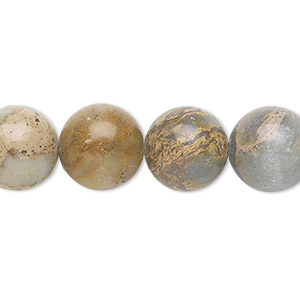 bead, aqua terra jasper (natural), 12mm round, b grade, mohs hardness 3-1/2 to 4. sold per 16-inch strand.