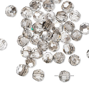bead, asfour crystal, crystal, clear satin, 6mm faceted round. sold per pkg of 12.