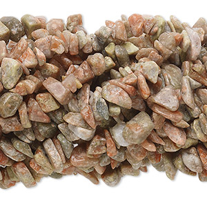 bead, autumn jasper (natural), medium chip with 0.5-1.5mm hole, mohs hardness 6-1/2 to 7. sold per pkg of (10) 34-inch strands.