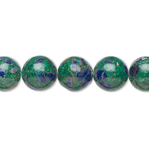 bead, azurite-malachite (assembled), 10mm round. sold per 16-inch strand.