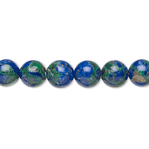 bead, azurite-malachite (assembled), 8mm round. sold per 16-inch strand.
