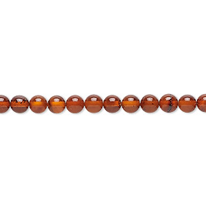 bead, baltic amber (heated), 4mm round, b grade, mohs hardness 2 to 2-1/2. sold per 16-inch strand.